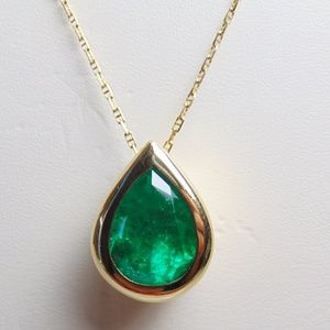Jewelry - 14KT Yellow Gold Large Pear Shaped Emerald Pendant